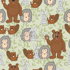 Friendly Wild Animals Repeating Pattern