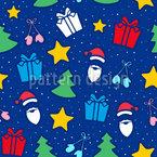 Natal com Papai Noel Design de padrão vetorial sem costura