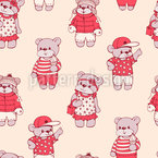 Bear Parade Seamless Pattern