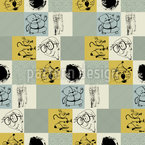Checkered Patchwork Ornaments with Pets Seamless Vector Pattern Design
