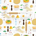 Spaghetti Kochen Nahtloses Vektormuster