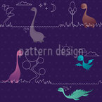 Lovely Dinos Seamless Vector Pattern Design
