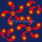 Fire Paisley Seamless Vector Pattern Design