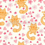 Cats And Hearts Vector Ornament