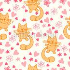 Katzen und Herzen Vektor Ornament