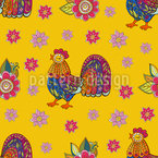 Folklore Rooster Repeating Pattern