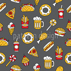 Tasty Fast Food Seamless Pattern