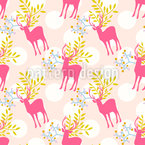 Floral Deers Repeating Pattern