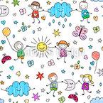 Verspielte Kinder Nahtloses Vektor Muster