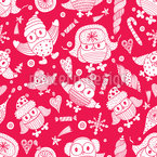 Happy Owls Seamless Vector Pattern Design