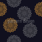 Sixties Leaf Flower Seamless Vector Pattern Design