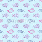 Blub Blub Fish  Seamless Vector Pattern Design