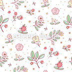 Delicate Cottage Flowers Seamless Vector Pattern Design