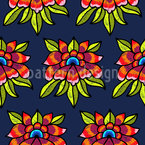 Flower Embroidery Seamless Vector Pattern Design