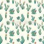 Cactus Desert Seamless Vector Pattern Design