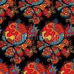 Lucky Dragon Seamless Vector Pattern Design