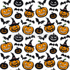 Spooky Pumpkin Heads Seamless Vector Pattern