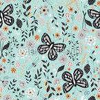 Schmetterling Garten Nahtloses Vektormuster