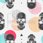 Hipster Skulls Seamless Vector Pattern Design