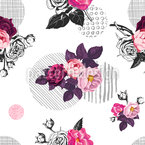 Cut Roses Seamless Vector Pattern Design