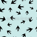 Swallows Silhouettes Seamless Vector Pattern Design