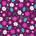 Violet Garden Seamless Vector Pattern Design