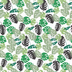 Monstera Leaf Silhouettes Repeat Pattern
