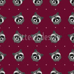 Cute Raccoon Seamless Vector Pattern Design