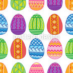 Happy Easter Flat Eggs Repeating Pattern