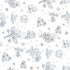 Sleepy Flowers Repeating Pattern