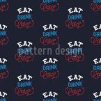 Eat Drink Love Seamless Vector Pattern Design