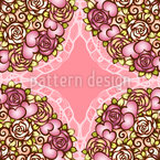 Roses And Hearts Bouquet Seamless Vector Pattern Design