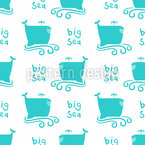 Funny Whale Seamless Vector Pattern Design