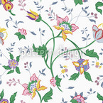 Little Flower Fantasy White Seamless Vector Pattern Design
