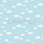 Summer Cloudy Sky Seamless Vector Pattern Design