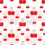 Cherry Hearts Seamless Vector Pattern Design