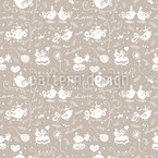 Cute Lovebirds Seamless Vector Pattern