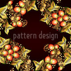 Russian Berry Wreath Seamless Vector Pattern Design