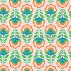 Retro Cartoon Flowers Seamless Pattern