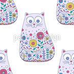 Ornate Cartoon Cats Seamless Pattern