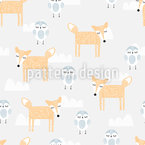 Cute Sleepy Animals Seamless Vector Pattern Design