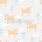 Niedliche Verschlafene Tiere Muster Design