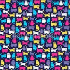 Cute Cartoon Kitten Seamless Vector Pattern Design
