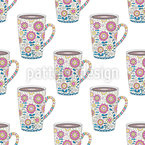 Ornate Cup of coffee Seamless Pattern