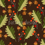 Acorns And Oak Leaves Seamless Vector Pattern Design