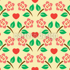 Hearts And Roses Repeat Pattern