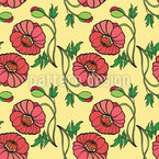 Poppy Flower Beauty Seamless Vector Pattern Design