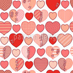 Patched Hearts Seamless Vector Pattern Design
