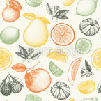 Früchte In Tinte Nahtloses Vektormuster