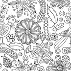 Cute Nature Coloring Book Seamless Vector Pattern Design